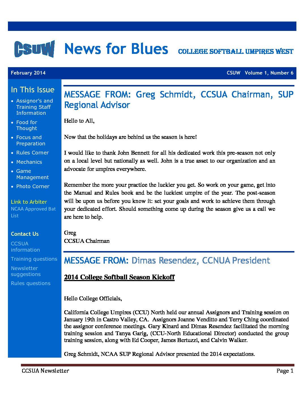 02 2014 – February 2014 CSUW Newsletter – CCSUA